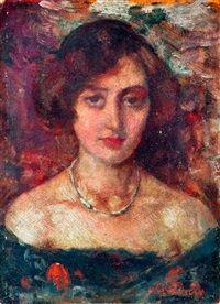 Barnahajú sötétruhás nő portréja by Lajos Gulácsy