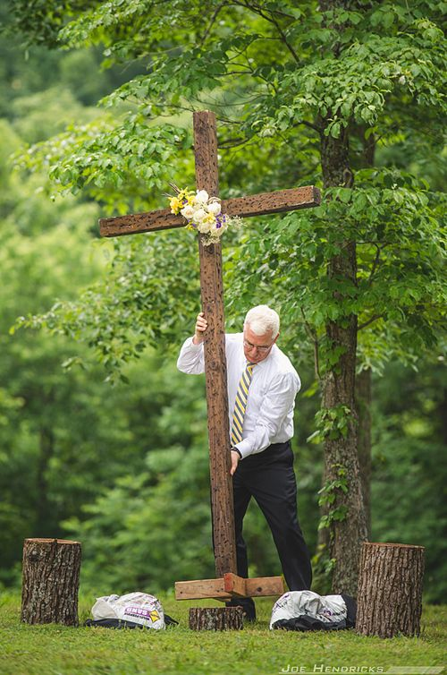 Add Banner Quot Because He First Loved Us Quot Rustic Cross Wedding Altar Tennessee In 2019 Outdoor