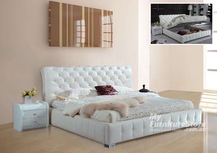 KING SINGLE SOFIA BED WITH GAS LIFT UNDERBED STORAGE - BONDED LEATHER/LEATHERETTE COMBINATION - CHOICE OF COLOURS