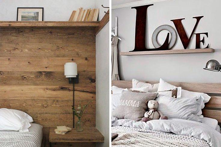 Decorar con estantes sobre la cama deco pinterest blog - Decorar pared cabecero ...