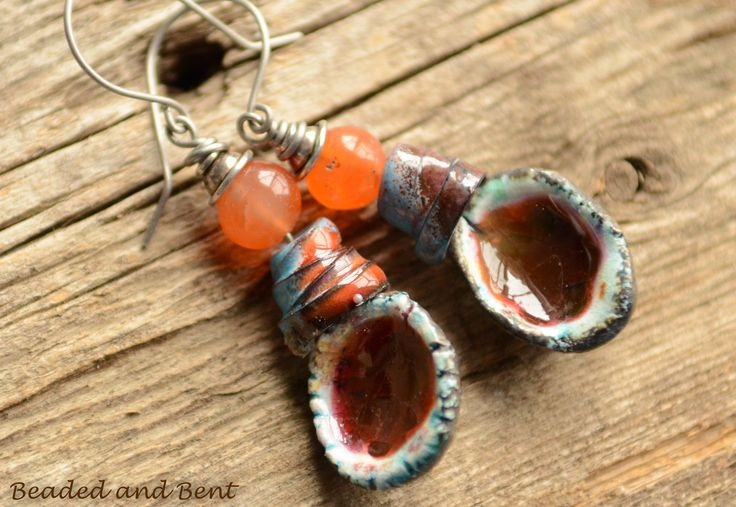 Rustic Carnelian Jammy Dangles - rustic dangles with jammy burnt orange ceramic drops  with coiled cone enamel beads and vintage carnelian by BeadedandBent on Etsy