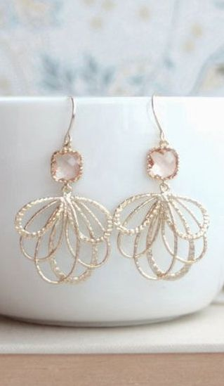 Feather Peach Blush Wedding Gold Earrings