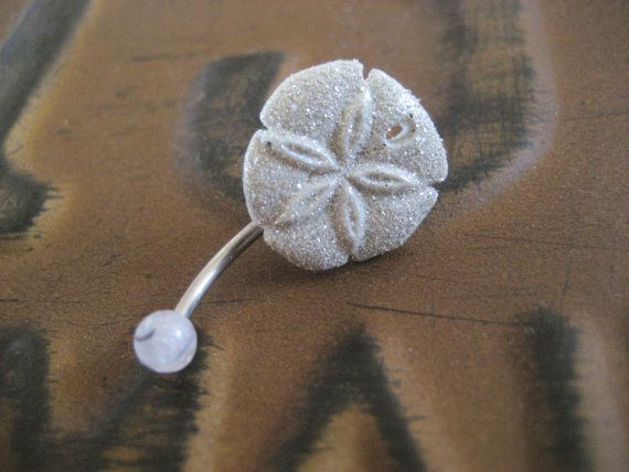 Glitter Sand Dollar Belly Button Jewelry Ring Glittery White Starfish Stud Star Fish Navel Piercing Bar Barbell