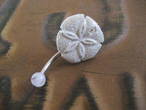 Glitter Sand Dollar Belly Button Jewelry Ring Glittery White Starfish Stud Star Fish Navel Piercing Bar Barbell