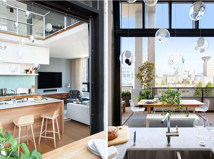 loft con terraza lámpara gubi estilo escandinavo eames lounche diseño interiores diseño exteriores decoración nórdica apartamento loft vancouver apartamento canadá
