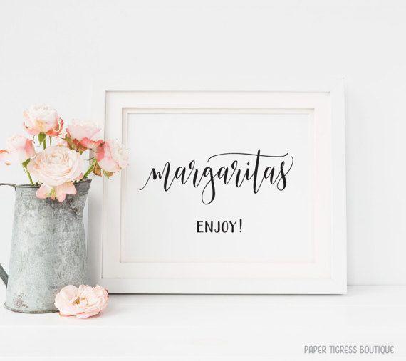 Margarita Bar sign Printable, Margarita sign, Cocktail bar sign, Party drink sign, Bridal shower Margarita sign, Wedding Reception signs