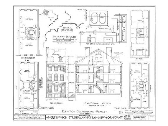 10 best architecture art images on pinterest architectural items similar to 8 greenwich street manhattan ny architectural print blueprint drawing on etsy malvernweather Gallery