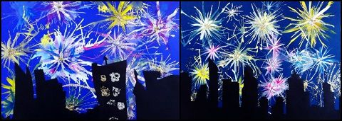 fireworks painting - Multiple techniques to create fireworks