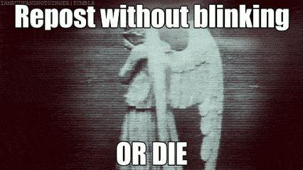 Don't blink. Blink and you die. only whovians get it<<TRYING NOT TO BLINK I DONT WANT TO DIE. NOT TODAY