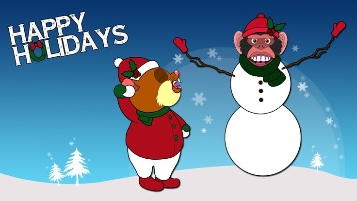 Hamstrong and monkey are enjoying a snow day. #cartoon #vivisection