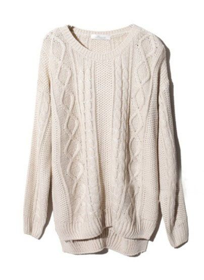 Beige Long Sleeve Geometric Pullover Cable Knit Sweater #SheInside