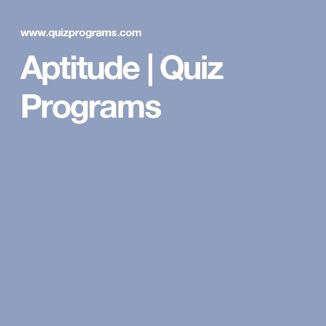 Aptitude   Quiz Programs