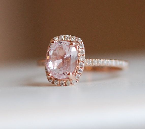 1.73ct Cushion peach champagne sapphire in 14k rose gold diamond ring #EidelPrecious #RoseGold