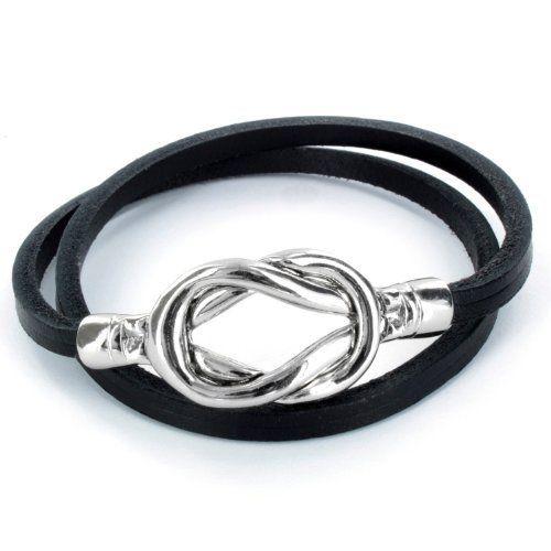 Steel Knot Double Wrap Leather Bracelet (Black) Forza Jewelry. $17.99. Save 47%!