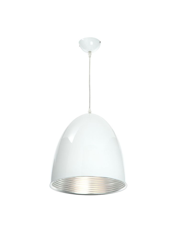 Industrial style white aluminium ceiling pendant in painted gloss finish valuelights