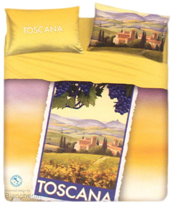Completo di lenzuola Toscana della linea Souvenir imagine Bassetti, una linea di lenzuola dedicate alle più belle località turistiche Italiane, la stampa presenta una cartolina della Toscana regione ricca di profumi e sapori con le sue colline colorate durante il periodo della vendemmia, le federe hanno una stampa double face. www.biancheria24.it