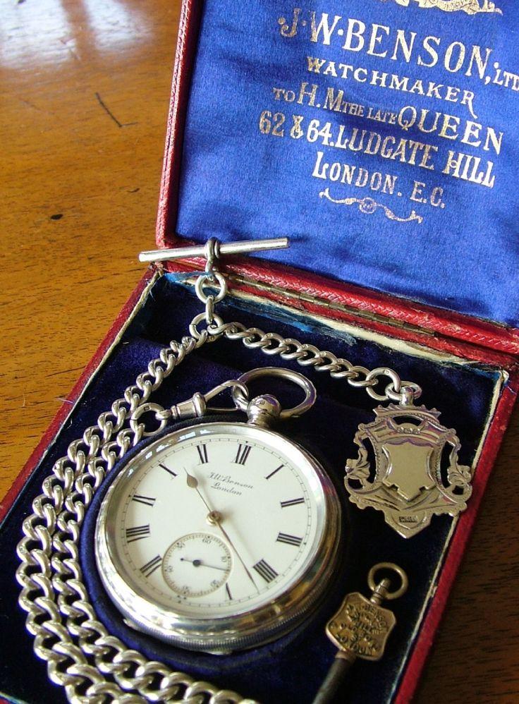 J W Benson silver pocket watch, chain and box