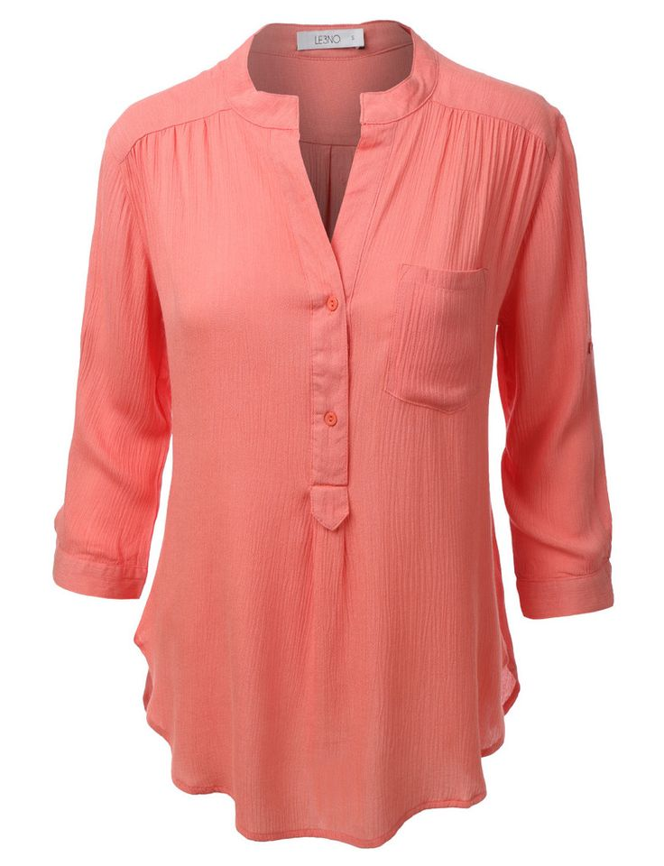 LE3NO Womens Loose 3/4 Sleeve Notch Collar Blouse Top