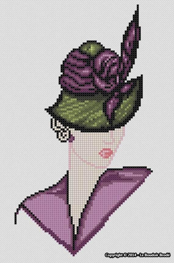 0 point de croix femme chapeau - cross stitch hat lady