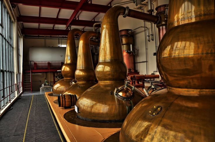 The copper stills of the GlenDronach Whisky Distillery near Huntly, Aberdeenshire.