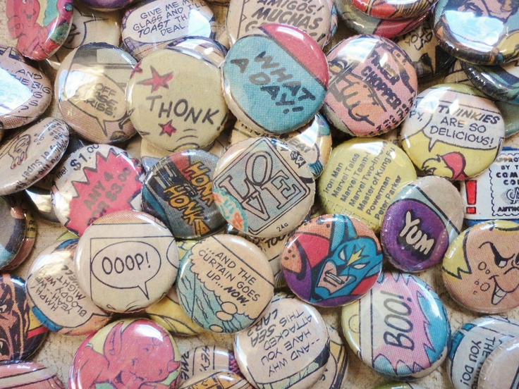 Unique Handmade Wedding Favors -100 1 Inch Pinback Buttons - Comics Are For Lovers. $95.00, via Etsy.