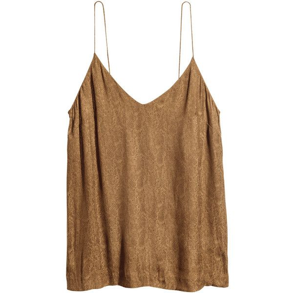 V-neck Camisole Top $12.99 ($18) ❤ liked on Polyvore featuring tops, strappy v neck cami, brown cami top, brown cami, cami top and v-neck camisoles