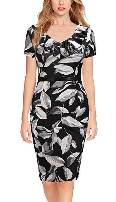 55ccd54451a17 REPHYLLIS Women's Ruffles Short Sleeve Business Cocktail Pencil Dress  Grey-leaf