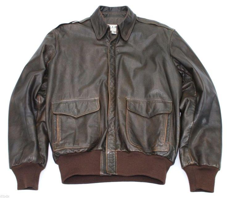 LL Bean A-2 Flying Tiger flight jacket brown leather Scovill zipper 40 L USA #LLBean #FlightBomber