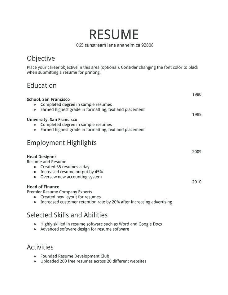 Best Simple Resume Simple Resume Design Elegant Best Resume Example Images On Simple Job Resume Pdf Bes First Job Resume Job Resume Format Job Resume Template