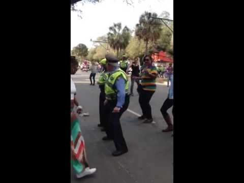 "According to the description, the video was taken at a Mardi Gras celebration in Galveston . | This Cop Doing ""The Wobble Dance"" At Mardi Gras Will Restore Your Faith In The Police"