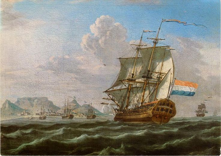 Anonymous painting with Table Mountain in the background, 1762 - This Day in History: Mar 20, 1602: Dutch East India Company founded http://dingeengoete.blogspot.com/