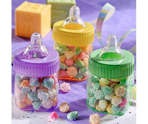 Elegant Multicolor Fillable Bottles Baby Shower Favors 6ct   Party City