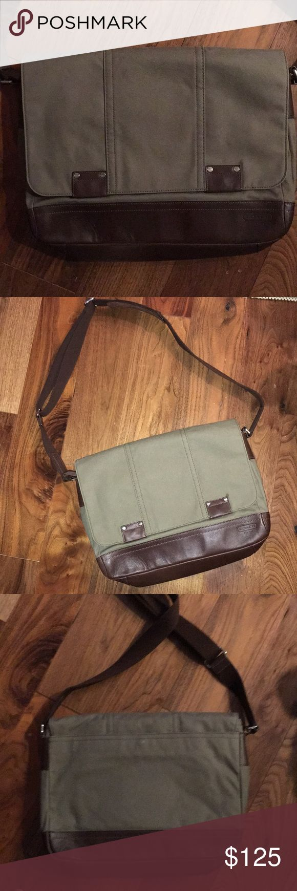 Men's Briefcase Coach Briefcase in forest green with chocolate leather accents and shoulder strap. Multiple pouches. Coach Bags Briefcases