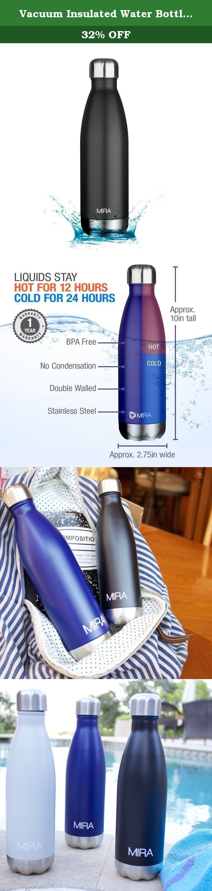 Vacuum Insulated Water Bottle | Double Walled Stainless Steel Cola Shape Travel Water Bottle - BPA Free, Keeps Your Drink Hot & Cold | by MIRA (Black, 17 oz (500ml)). Vacuum Insulated Water Bottle | Double Walled Stainless Steel Cola Shape Travel Water Bottle - No Sweating, Keeps Your Drink Hot & Cold | Grey * Made of food-grade 18/8 stainless steel, 100% BPA and Phthalate free. Feel free to use again and again and send it to school with your little ones. * The stainless steel material...