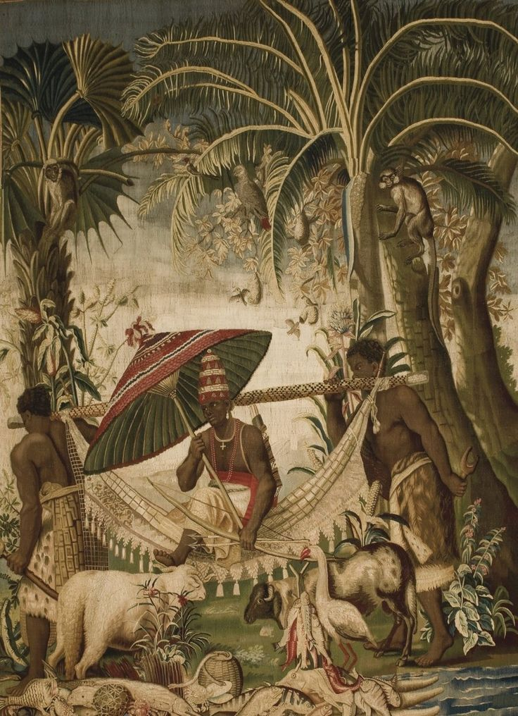 17th century tapestry of the Gobelins Tapestry Manufactory showing the King of Whydah being transported by two slaves in a Litter in a hunting scene