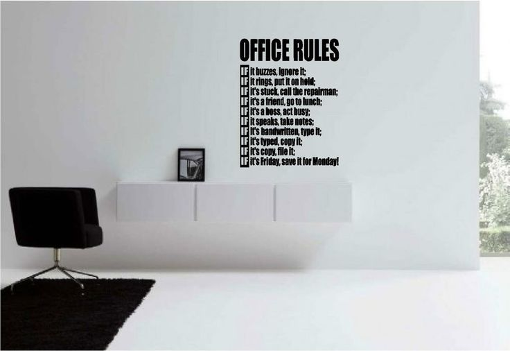 Removable Office Rules Wall Art Decor Decal Vinyl Sticker ...