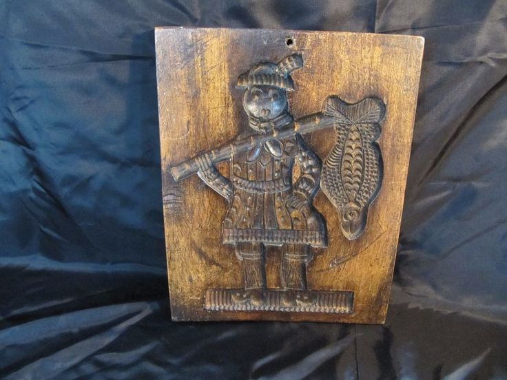 Antique Primitive Fisherman Cookie Candy Mold Wooden Springerle Folk Art