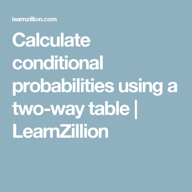 Calculate conditional probabilities using a two-way table | LearnZillion