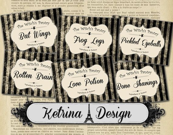 The Witch's Pantry Labels Halloween labels gift by KetrinaDesign