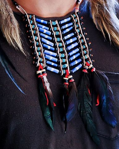 Native American Breatplate - Small Blue - $24