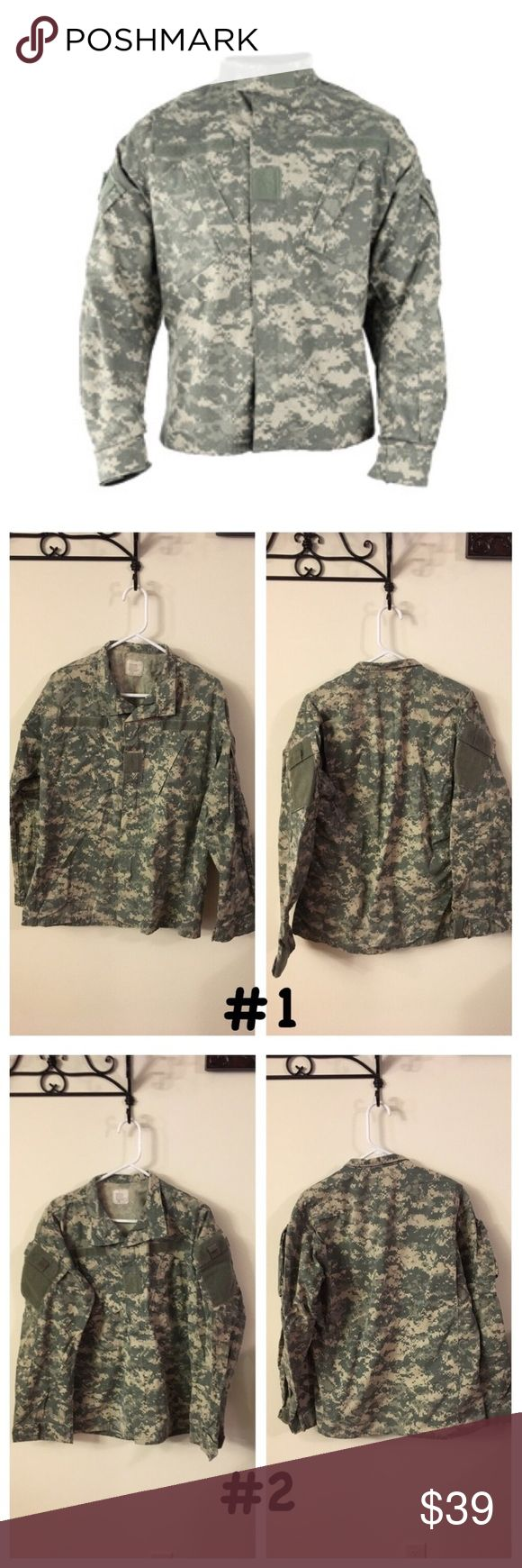 Army Combat Uniform Top size Medium-Long ❤Same day shipping (excluding Sun/holidays or orders placed after P.O. Closed)  PRICE FIRM unless bundled. ❤  Price is for 1 top! Size Medium Long Army Combat Uniform Tops. Each photo is front/back of each separate Top. Gender neutral uniforms. Normal wear from use but free from holes/stains. Smoke/pet free home. Some of the labels have writing. My husband had a system to keep tops/bottoms together. Army Shirts
