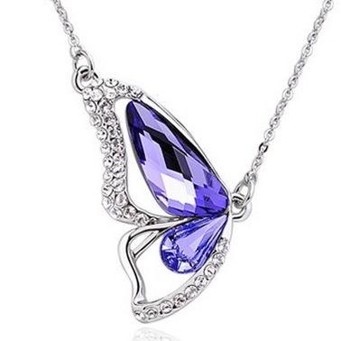 Swarovski Butterfly Necklace Purple Crystal