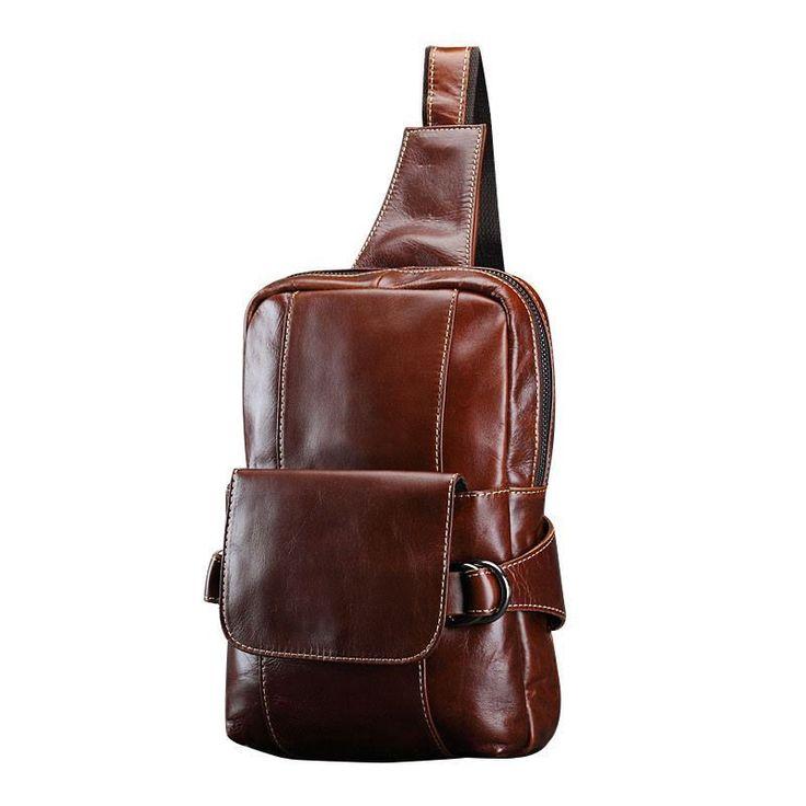 Men New Vintage Fashion Genuine Leather Chest Shoulder Bag Travel Cross-body Bag