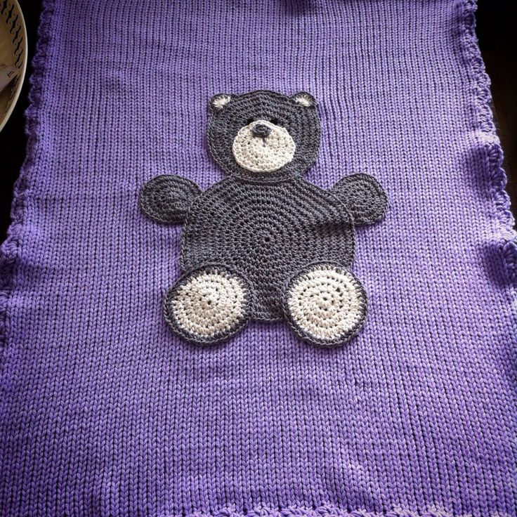 Knitting baby blanket with crochet Teddy