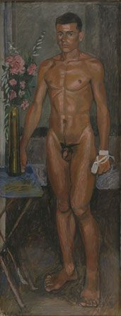 Yannis TSAROUCHIS. Nude youth with oleanders and a bandage on his hand, 1940.