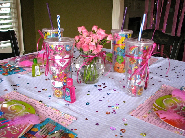 HomeMadeville: Girl's Birthday Party Decorations-Love this idea of the cups, they are reusable and totally useful!