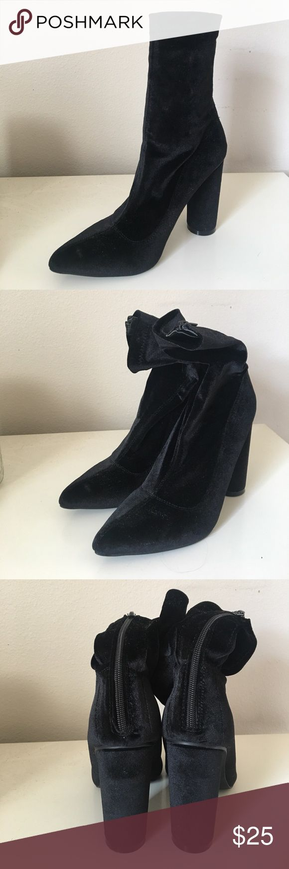 Velvet Booties Black velvet pointed toe booties with a chunk heel. These fit pretty tight around the ankles and go farther up the calf. Originally bought from Amazon, never worn! Liliana Shoes Ankle Boots & Booties