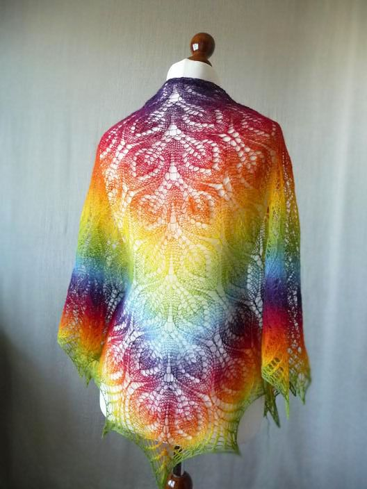 Knit Rainbow triangular shawl hand knit shawl by KnittyStories