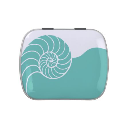 Teal Nautilus Sea Shell Jelly Belly Candy Tin