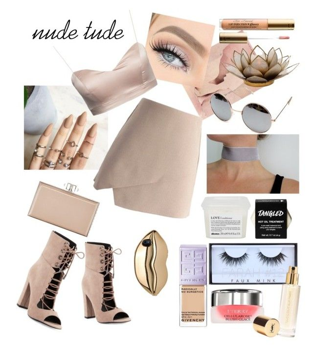 """Nude Tude"" by cavffeine ❤ liked on Polyvore featuring Chicwish, Dot & Bo, Judith Leiber, Too Faced Cosmetics, Kendall + Kylie, Davines, Huda Beauty, Givenchy, By Terry and Yves Saint Laurent"